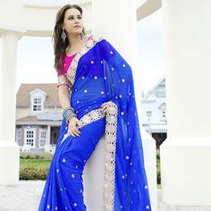 #Blue Faux Chiffon #Saree with Blouse