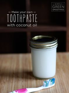 Homemade Toothpaste with Coconut Oil : 6 tbsp coconut oil, 6 tbsp baking soda, 25 drops essential oil (whatever you prefer— I like eucalyptus and grapefruit), 1 tsp stevia. Directions: 1. Mix all ingredients together in a bowl. I used my SmartStick to whip it really well and give it a light creamy texture. 2. Pour into a mason jar and seal it up until ready to use.