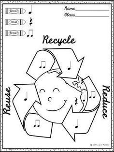 Two Earth Day Color-By-Music Coloring Worksheets