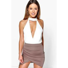 Boohoo Petite Petite Millie Ruched Side Asymmetric Midi Skirt ($16) ❤ liked on Polyvore featuring skirts, mocha, white midi skirt, evening skirts, embellished skirts, white asymmetrical skirt and mini skirt