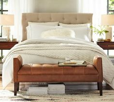 Lorraine Tufted Leather Bench | Pottery Barn