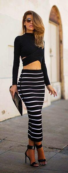 Street styles | Cut out crop top and high waist striped pencil skirt