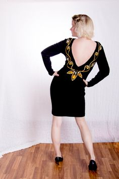 Black Wool Dress with Low Back and Gold by BirchEdenVintage
