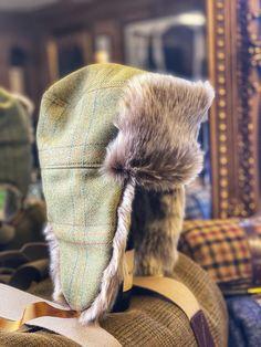 bespoke made in England tweed fur hat Bespoke Clothing, Trapper Hats, Tweed, Winter Hats, England, Fur, English, British, Feather
