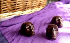 skull chocolates filled with peanut butter by vianne chocolat