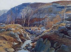 A late addition to the sale, this Maine winterscape by Edward Willis Redfield (American, 1869–1965), oil on canvas, 18 by 24 inches, fetched $12,600.