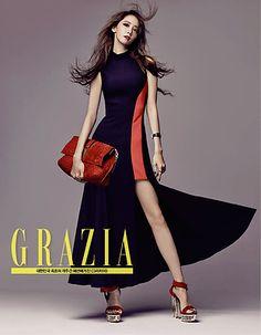 Girls' Generation's Yoona on the Cover of Grazia September 2015 Grazia Magazine, Instyle Magazine, Cosmopolitan Magazine, Yoona Snsd, Panel Dress, Girls Generation, Kpop Girls, Versace, Dresses For Work