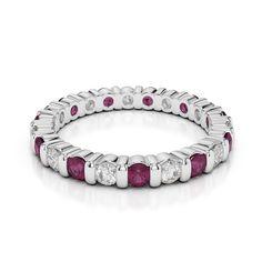 White Gold Ruby & Diamond Full Eternity Ring AGDR-1093-HI [WG_D_R_Et_Ring-1093-HI] - £679.00 : AG&SONS