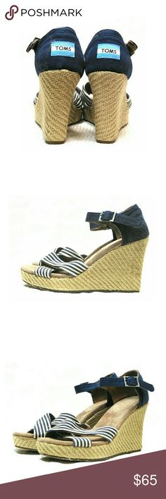 """NWOT TOMS STRIPE CROSSOVER STRAP WEDGES NWOT TOMS  STRIPE CROSSOVER STRAP WEDGES NEVER WORN SZ 7W Wedge 3 1/2"""" To See More Detail, Just Spread Fingers On Photo to Zoom In.  Pls See All Pics. Ask ? If Not Sure TOMS Shoes Wedges"""
