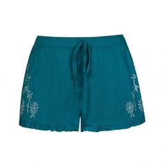 Ally Fashion Floral embroidered cheesecloth short ($19) ❤ liked on Polyvore featuring shorts, teal, teal shorts, relaxed fit shorts, relaxed shorts and short shorts
