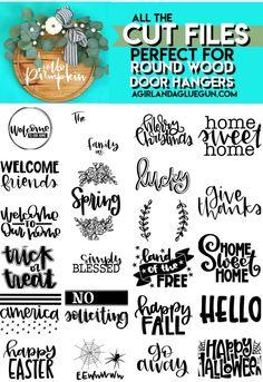 Cricut Tutorials, Cricut Ideas, Door Hangers, Wood Door Hanger, Circuit Crafts, Wood Rounds, Front Door Signs, Cricut Craft Room, Cricut Creations