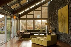 Green Living Room, Stone Wall, Experimental Bioclimatic House Tenerife