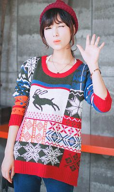Loose hit color stitching Christmas deer pullover sweater #women #fashion #ahai