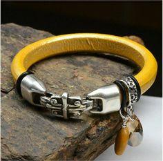 Regaliz Licorice Leather Bracelet with Swarovski by SunStones, $37.00