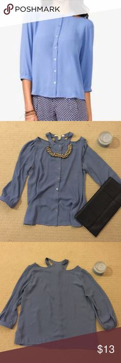 Button Down Cutout Shoulder Blouse Never worn Cutout Shoulder Blouse. Excellent condition. Comes with extra button. Forever 21 Tops Blouses