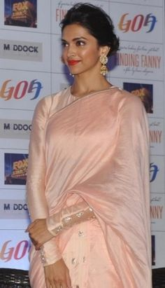Deepika Padukone in Pink Saree with Full Sleeve Blouse and Round Neck Designs New Images 2014