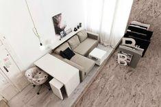 kleines wohnzimmer einrichten tipps modulares sofa schreibtisch elemente
