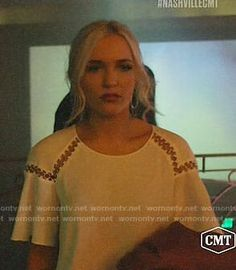 Maddie's white ring detail top on Nashville.  Outfit Details: https://wornontv.net/89194/ #Nashville