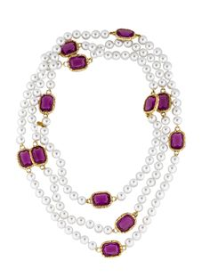 White vintage Chanel faux pearls necklace with faceted purple sautior chicklet stations set in textured gold-tone. Includes box.