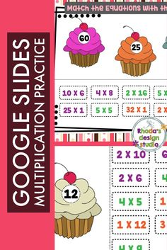Drag and Drop multiplication equations on the cupcake that shows the correct product. Use this on an interactive whiteboard or in Google Classroom. Each card contains 3 products in a cupcake and 9 equations (3 for each cupcake). The PDF includes a link to step by step instruction to copy the Google Slide resource to your own Google Drive. #multiplication #teacherspayteachers Spelling Activities, Hands On Activities, Vocabulary Games, Math Games, Multiplication Facts Practice, Multiplication Strategies, Math Test, Math Math, Math Fractions