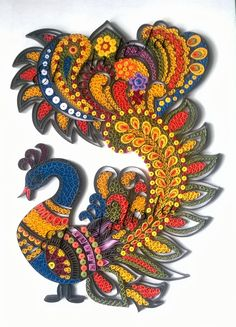 Madhubani Peacock in Paper Quilling by El Artista-The Creative Cynosure Peacock Quilling, Quilling Butterfly, Paper Quilling Flowers, Paper Quilling Cards, Paper Quilling Patterns, Origami Paper Art, Quilling Craft, Paper Crafts, Quilling Animals