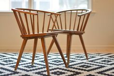 These chairs by Russel Wright for Conant Ball are inspired by the classic American Windsor chair and are constructed of solid northern rock maple.  The