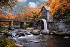 Photo Glade Creek Grist Mill by Ken Toney on Water Powers, Autumn Scenes, Water Mill, Old Barns, Country Barns, Le Moulin, Covered Bridges, Nature Scenes, Nature Pictures