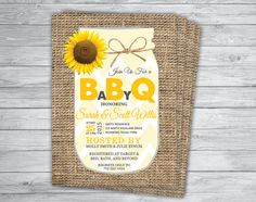 Any Event/Color COUPLES BBQ Shower SUNFLOWER Mason Jar Rustic Cheap Burlap Country Chic Vintage Yellow Chevron Unique Baby Sprinkle Barbecue