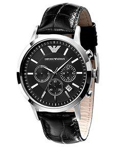 Emporio Armani Watch, Men's Black Leather Strap AR2447 - Watch Brands - Jewelry & Watches - Macy's