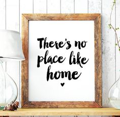"Home Art Wall Decor ""Theres no place like home"" Printable Poster Typography Quote Home Decor Scandinavian Art Instant Download DIY Print"