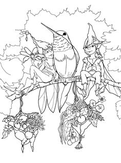 Birds and elves - Free Coloring Pages For Adults
