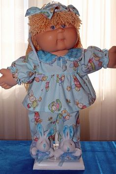 Cabbage Patch Doll cloths - Girls Easter Pj's- hair bows- slippers- size 16