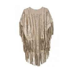 Beige Suedette Laser Cut Asymmetric Fringed Cape ($28) ❤ liked on Polyvore featuring outerwear, cape coat, fringed cape and brown cape