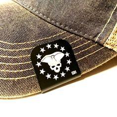 Texas Flag Skull Laser Etched Aluminum Hat Clip Brim-it