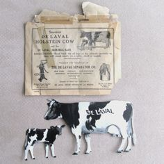 Vintage-DeLaval-Dairy-Holstein-Tin-Cow-and-Calf-Set-Envelope-Advertising