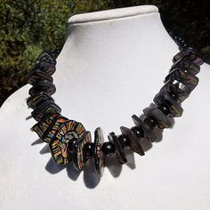 Handmade chunky polymer necklace in black with by MaryClaires, $35.00