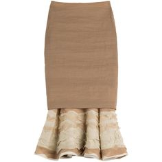 Donna Karan New York Pencil Skirt ($1,475) ❤ liked on Polyvore featuring skirts, bottoms, юбки, camel, flounce skirt, tulle skirt, donna karan, pencil skirt ve ruffle pencil skirt
