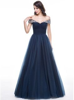 Ball-Gown Off-the-Shoulder Floor-Length Tulle Evening Dress With Ruffle Beading