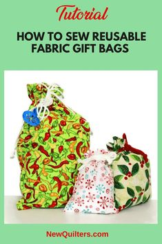 Make gifts extra-special by wrapping them in one a beautiful, reusable fabric bag. Many times, the recipient likes the bag just as much as the gift inside! Christmas Gift Bags, Christmas Sewing, Christmas Fabric, Christmas Ideas, Christmas Crafts, Holiday Ideas, Christmas Decorations, Christmas Ornaments, Small Sewing Projects
