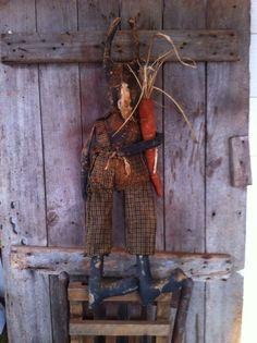 Primitive Black Folk Art Grandpa Bunny Rabbit Easter Doll carrot Overalls prim #NaivePrimitive
