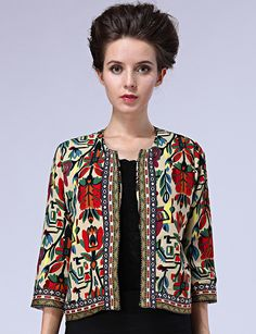 Multicolor Round Neck Tribal Print Crop Outerwear 25.83