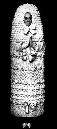Knitted wedding dress by Yves Saint Laurent, 1965  why do i remember this odd dress from back in the 60*s..hmmmm  its so odd looking