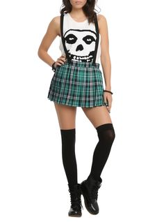 Royal Bones Green Plaid Suspenders Skirt | Hot Topic