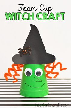 Easily the sweet witch around- this kid's foam cup craft is an easy witch craft for a Halloween or fall class party! #Halloween #kidscrafts