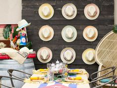 This tablescape offers so much inspiration for my Cuban-themed deck decor. I love the use of the Cuban flag as a table runner and the iconic straw fedoras would be so much fun for my guests to wear. #DestinationTrexSweeps