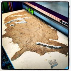 My students are creating a clay map of the U.S.   They will use it to map the first Americans, early explorers and colonists.