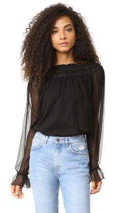 HAUTE HIPPIE Christina Ruffle Blouse. #hautehippie #cloth #dress #top #shirt #sweater #skirt #beachwear #activewear