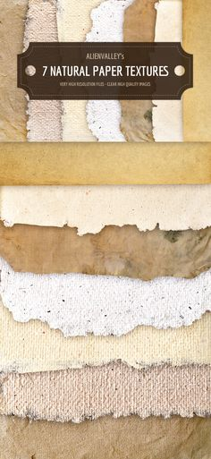 A set of 7 natural paper textures available in high-resolution transparent PNG format. Feel free to use them in your...
