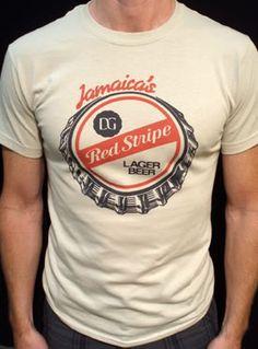 Red Stripe Beer t-shirt vintage jamaica lager tan*   eBay