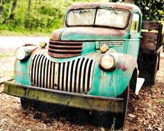 Vintage Pickup Truck Shabby Rusted Blue Green by FocusGroupFoto, $18.00